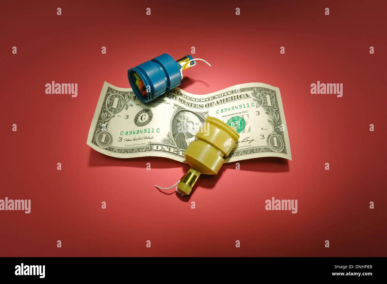 Ein einer Dollarnote mit Partei begünstigt. Stockbild