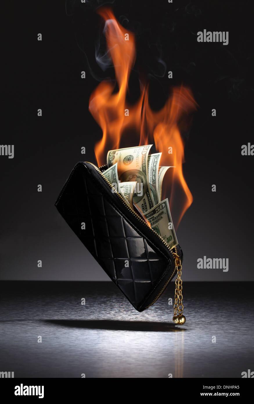 Eine braune Leder-Geldbörse mit Kreditkarten und Geld auf Feuer gefüllt. Stockfoto