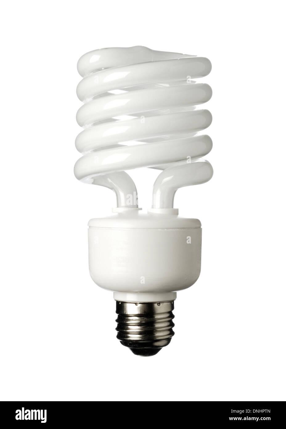 Eine Energie-Einsparungen-Glühbirne auf einem weißen Hintergrund. Kompakte Leuchtstoff Glühlampe CFL Stockbild