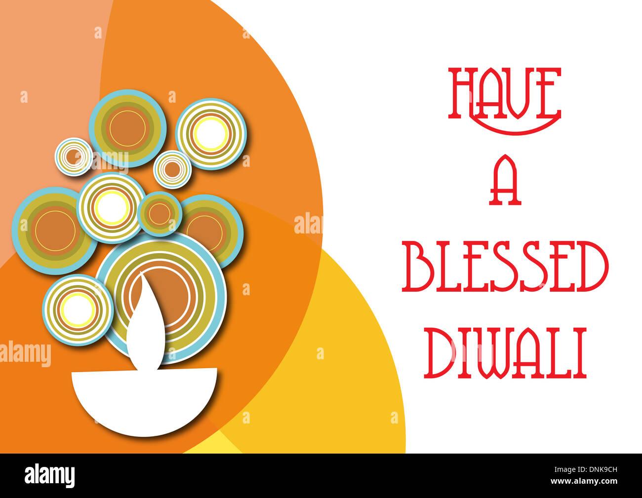 Diwali Gruß isoliert auf weißem Hintergrund Stockfoto