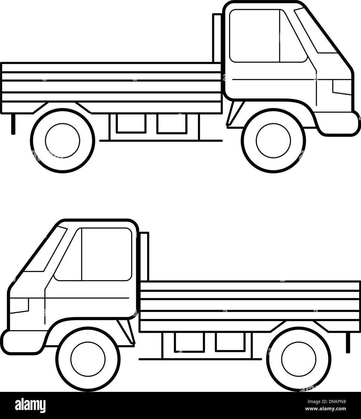 Auto, schwarze Vektorlinien auf weißem Hintergrund Stockbild