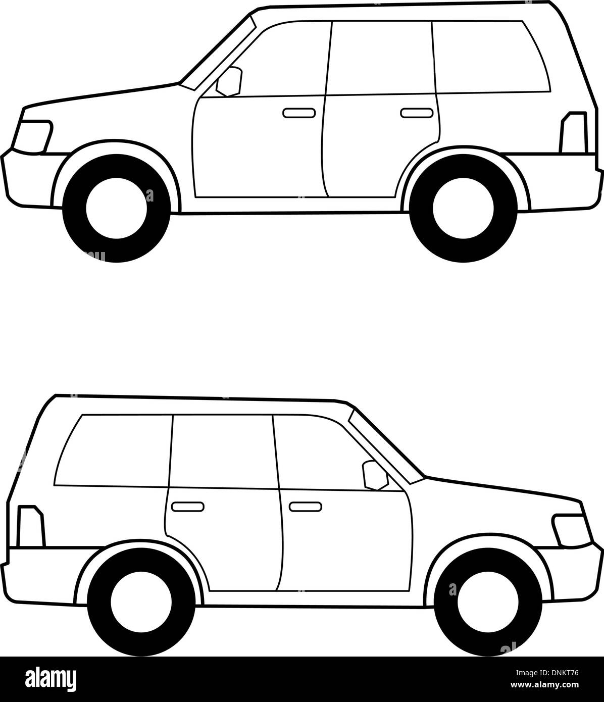 Auto, schwarze Vektorlinien auf weißem Hintergrund Stock Vektor