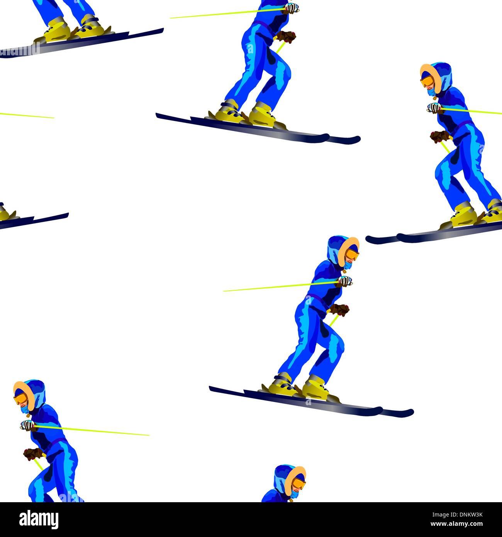 Nahtlose Tapete Patternr Skifahrer in einem dunkel blauen Anzug Stockbild