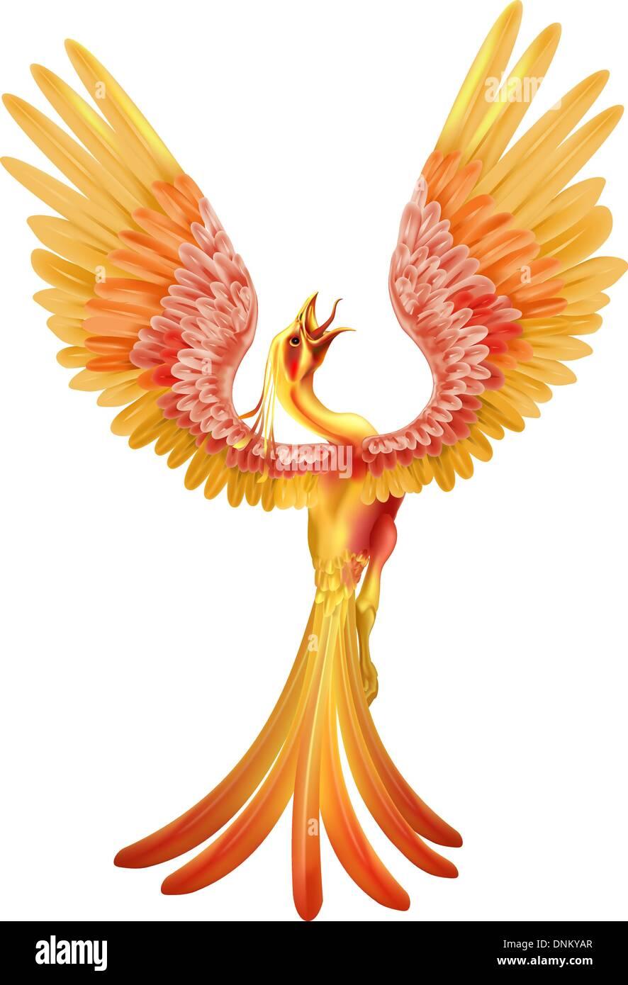 ein phoenix vogel steigt aus der asche mit fl gel. Black Bedroom Furniture Sets. Home Design Ideas