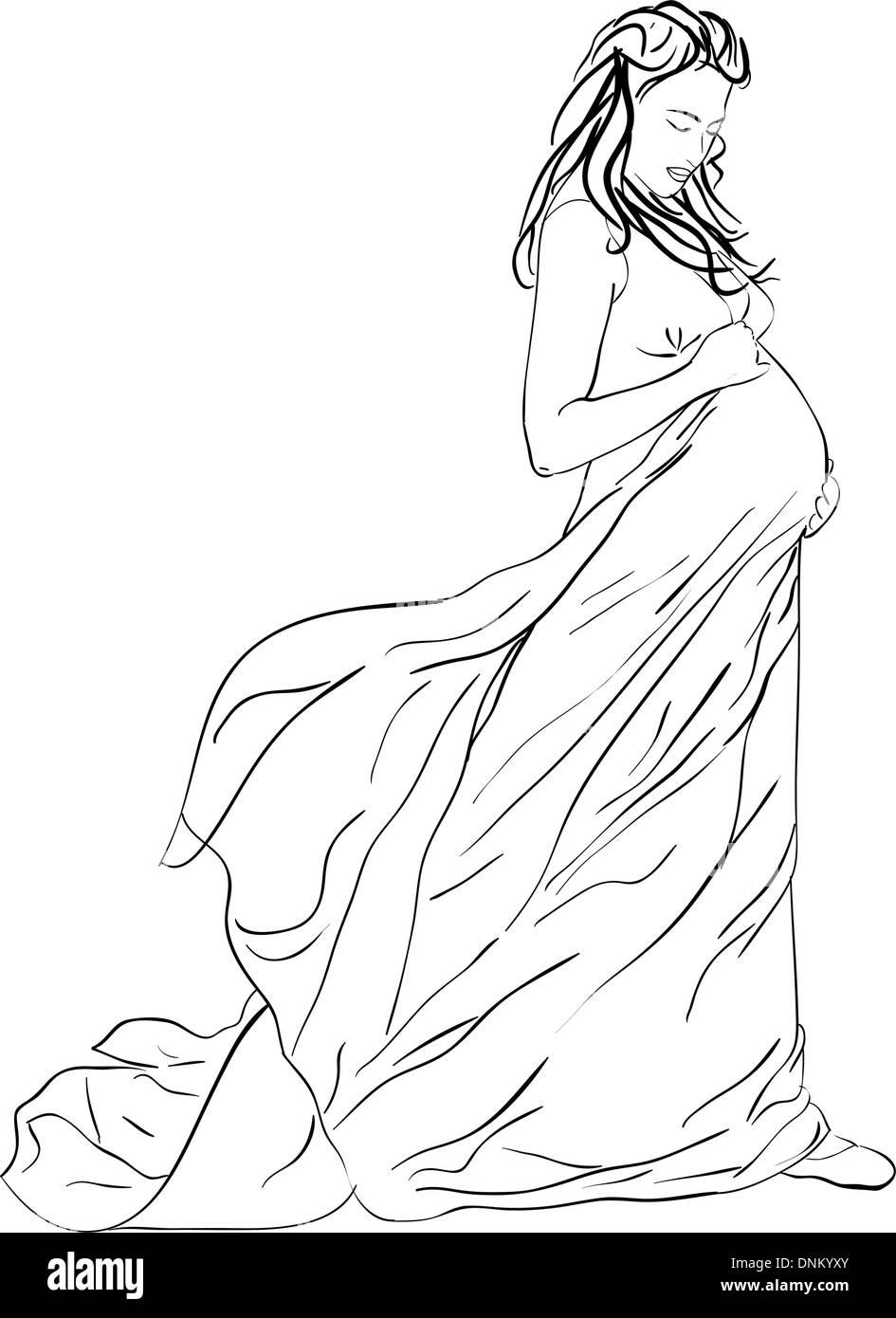 Die schöne schwangere Frau in einem langen Kleid Stockbild