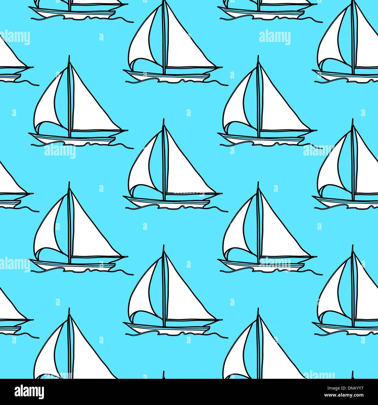 nahtlose Tapete mit einem Segelboot auf den Wellen des Ozeans Stockbild