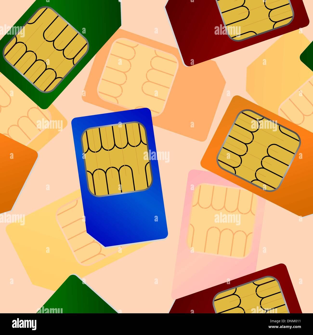 SIM-Karte. Nahtlose Tapete. Stockbild