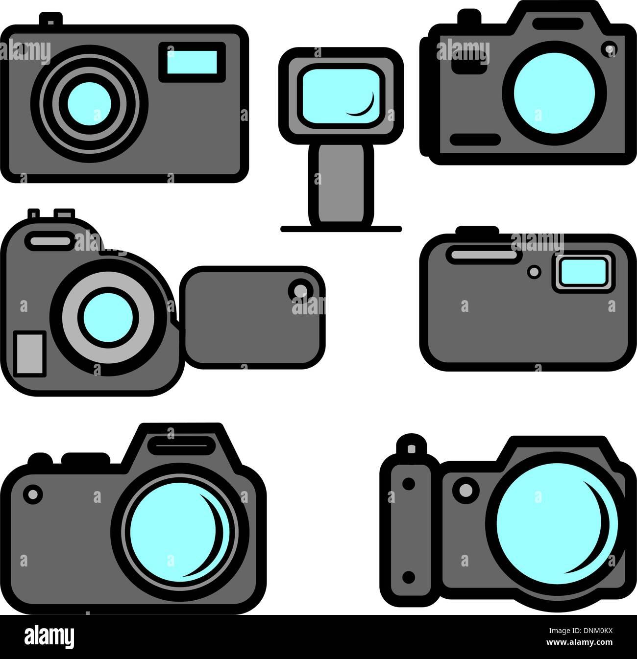 Eine Reihe von Digitalkameras Stockbild