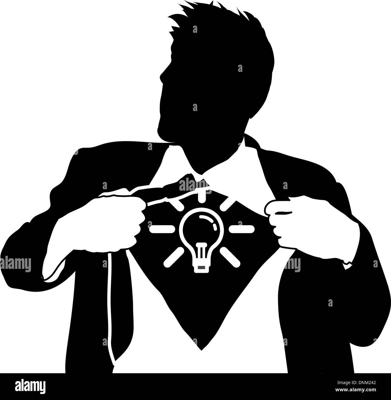 Ein Geschäftsmann sein Hemd aufreißt um eine Glühbirne zu offenbaren ...