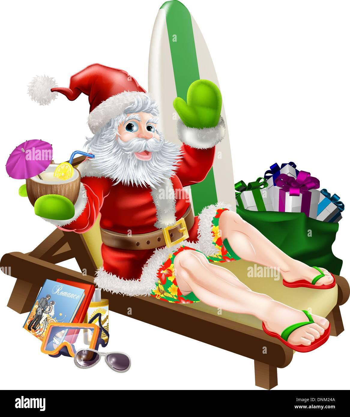 Weihnachten Weihnachtsmann entspannen am Strand oder am Pool tragen ...