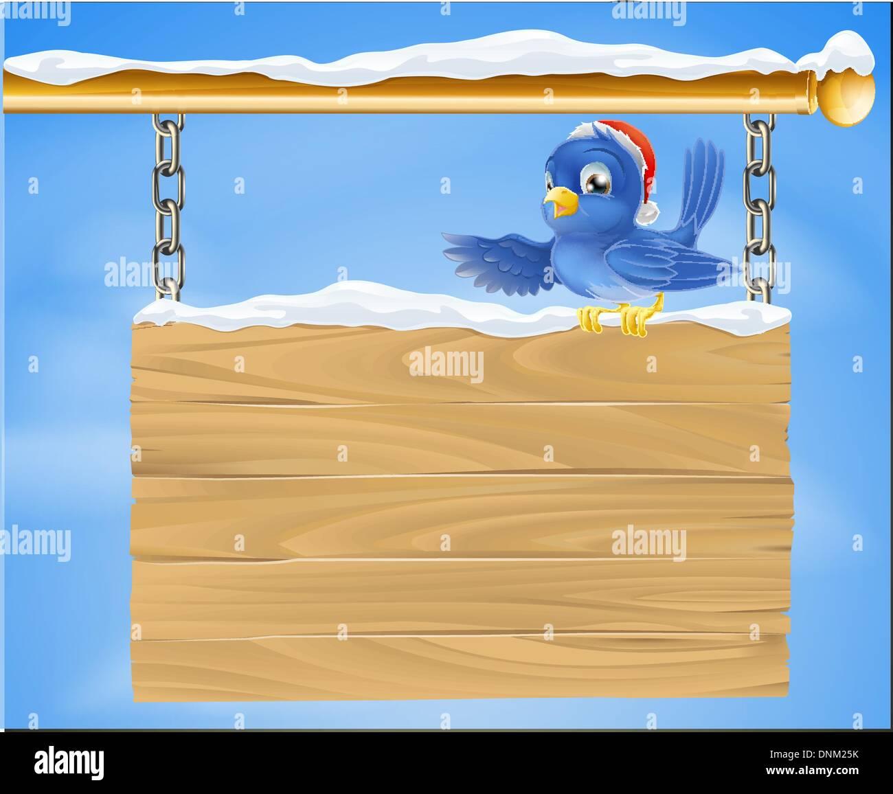 Cartoon glücklich lächelnde Bluebird einen Christmas Santa Hut saß ...