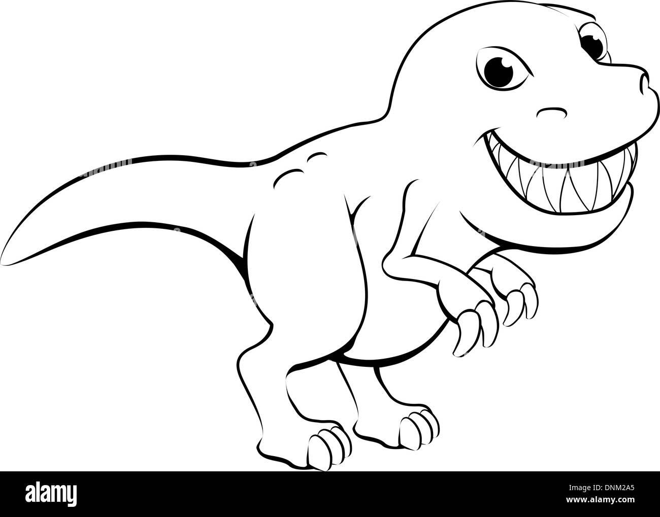 Schwarz / weiß Darstellung eines glücklichen Cartoon-t Rex ...
