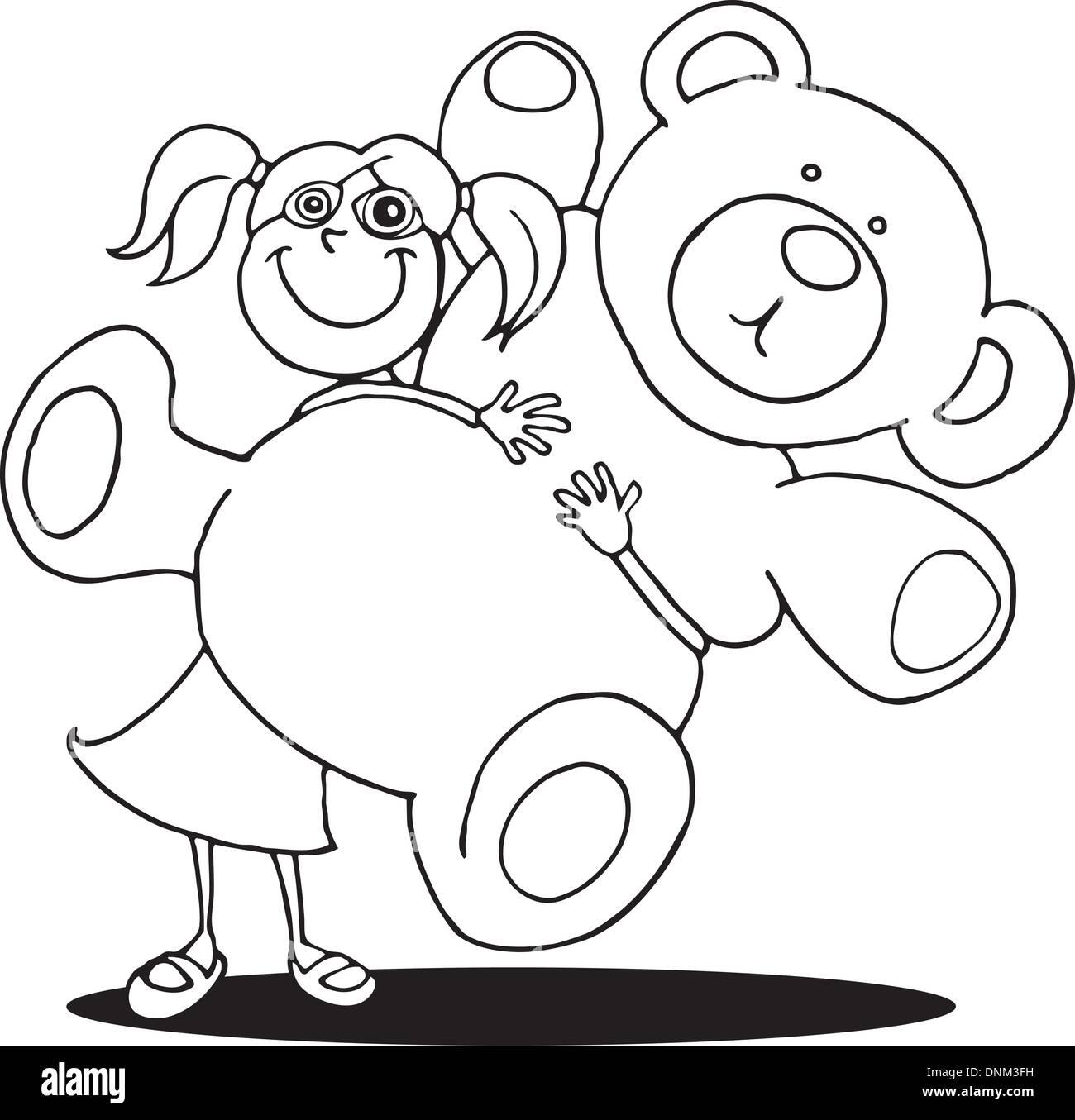 Comic-Illustration von Mädchen mit großen Teddybären für Malbuch ...