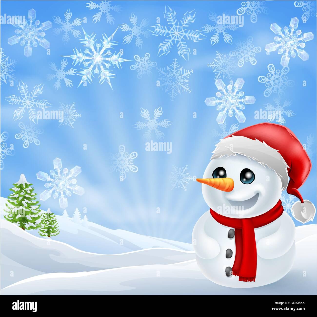 Ein glückliches Weihnachten Schneemann in verschneiten Szene mit ...