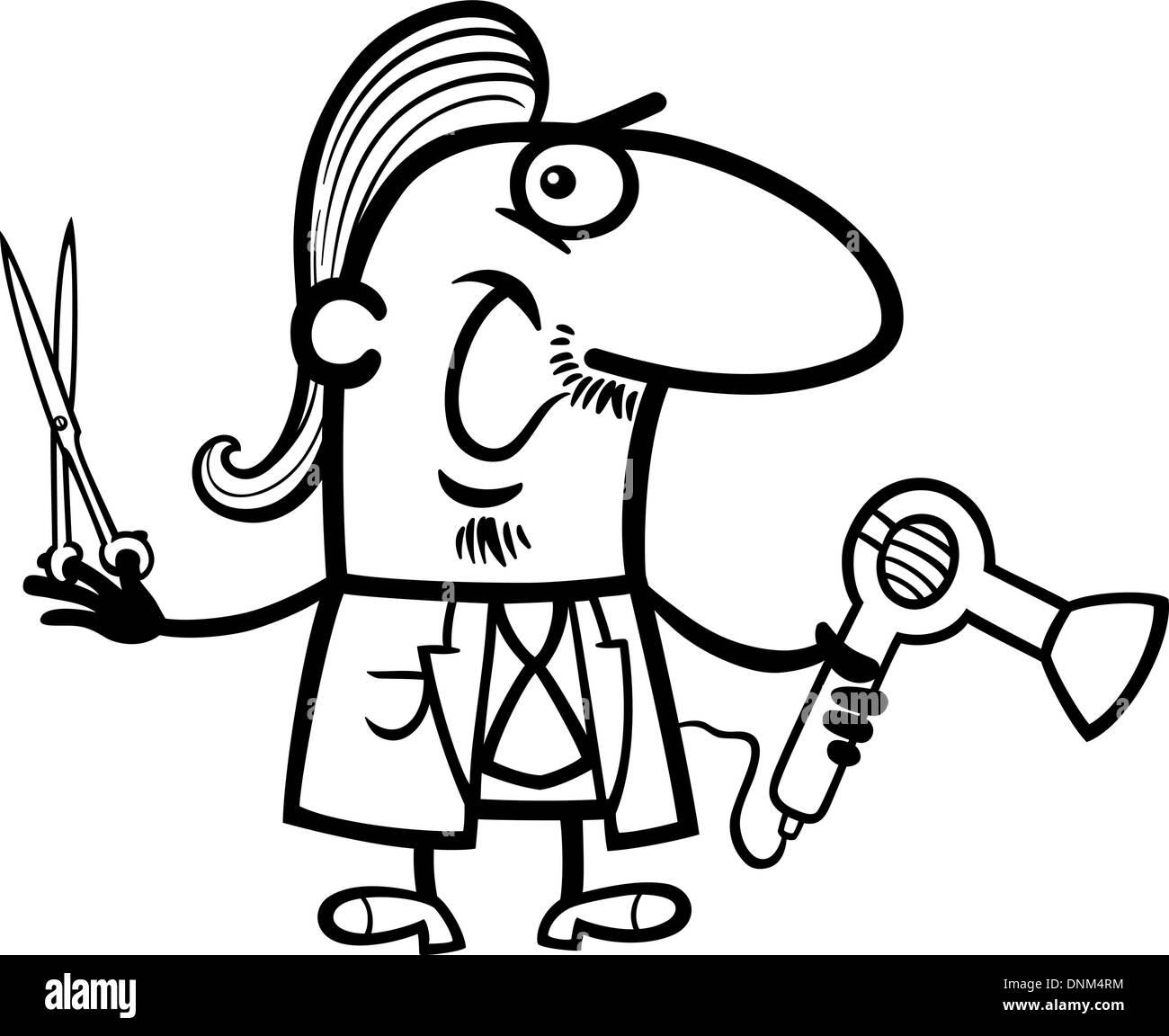 Schwarz Weiss Cartoon Illustration Der Lustige Friseurin Oder