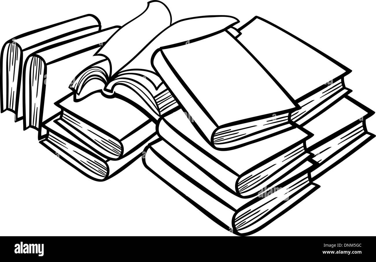 Bücher Clipart Schwarz Weiß