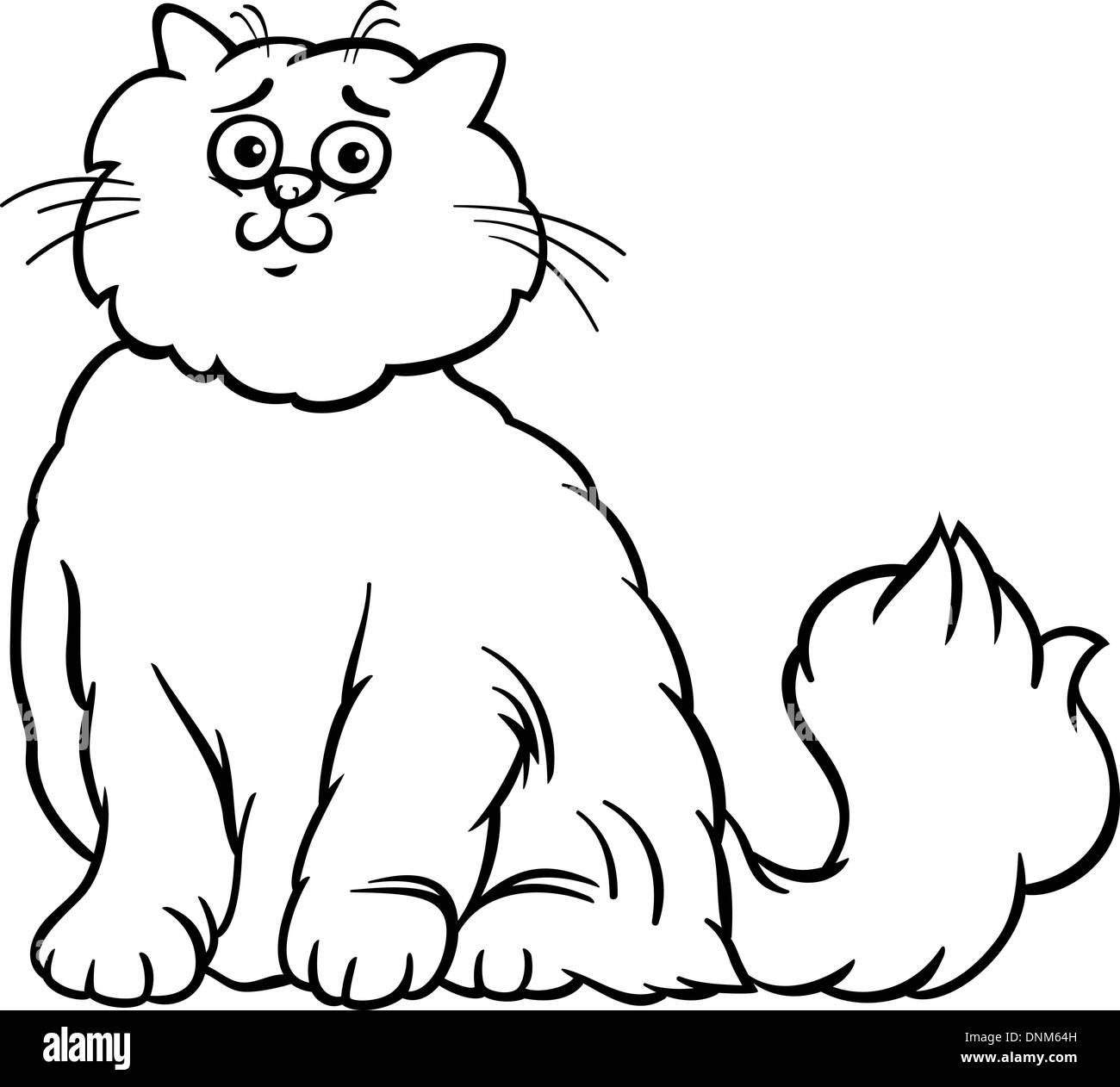 Schwarz / Weiß Cartoon Illustration der süße Langhaar Perserkatze ...