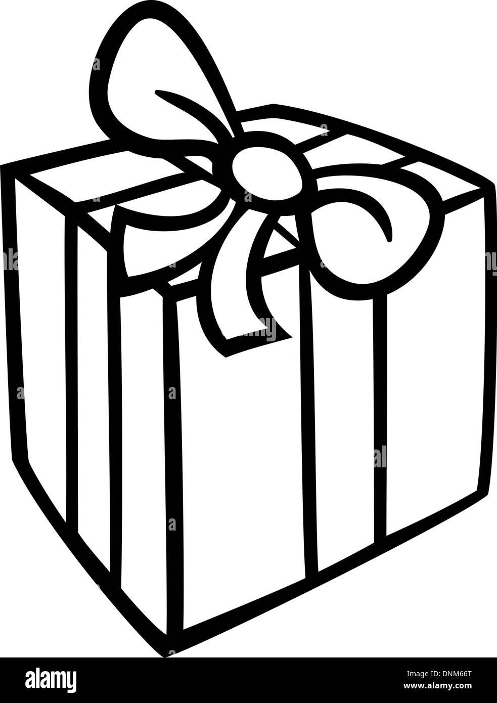 schwarz wei cartoon illustration der weihnachts oder geburtstagsgeschenk oder geschenk. Black Bedroom Furniture Sets. Home Design Ideas