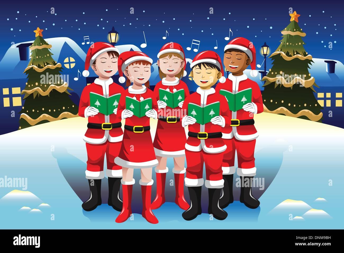 Eine Vektor-Illustration der glückliche Kinder singen im Chor ...