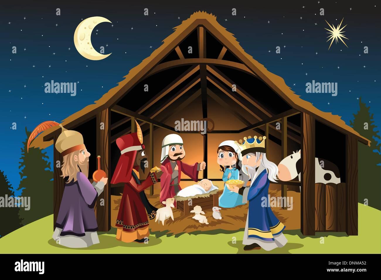 Eine Vektor-Illustration von Weihnachten Konzept der Geburt von ...