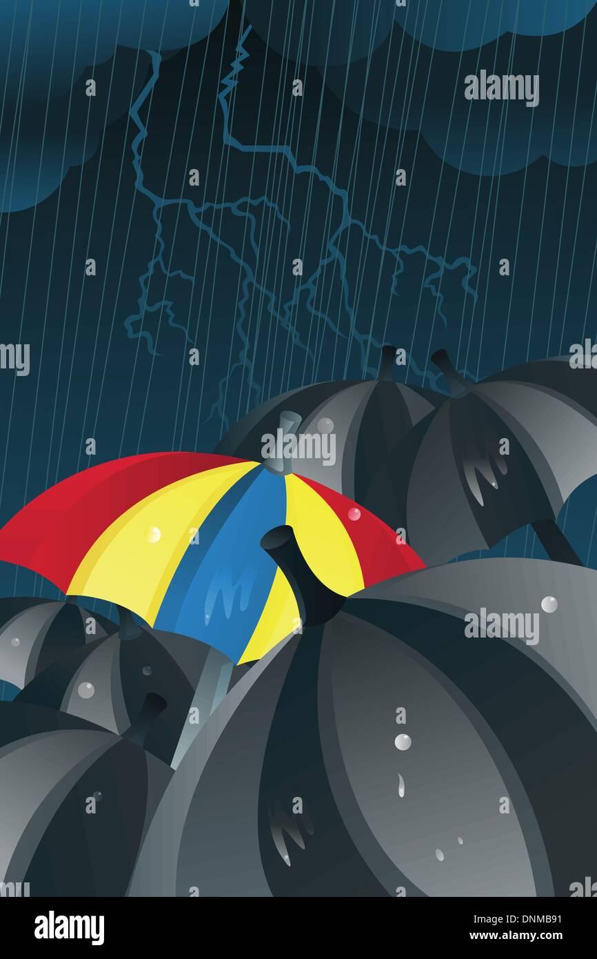 Eine Vektor-Illustration von einem bunten Schirm unter den schwarzen Schirmen im Regen Stockbild