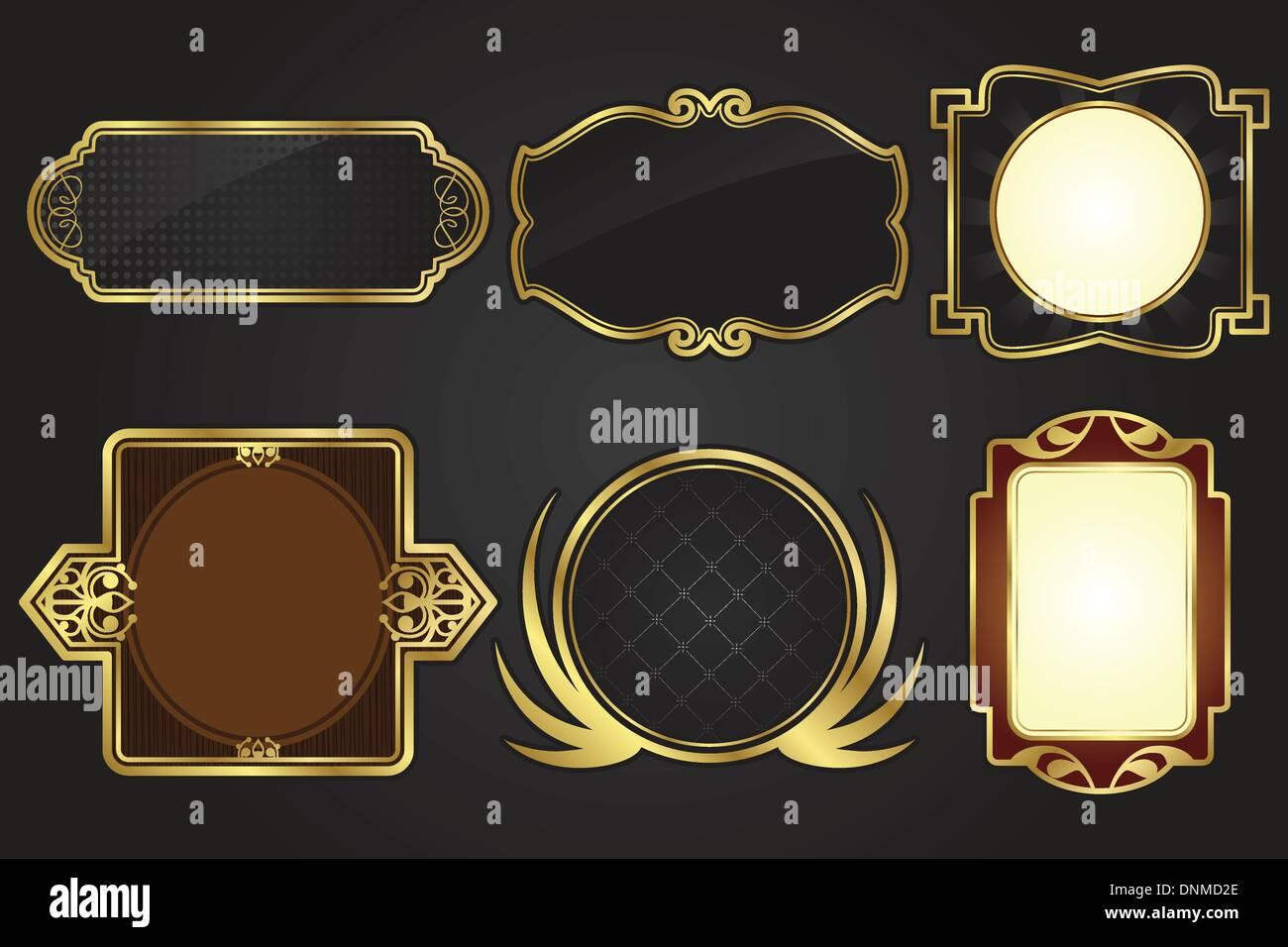 Eine Vektor-Illustration aus einem Satz von Schwarz und gold Rahmen ...