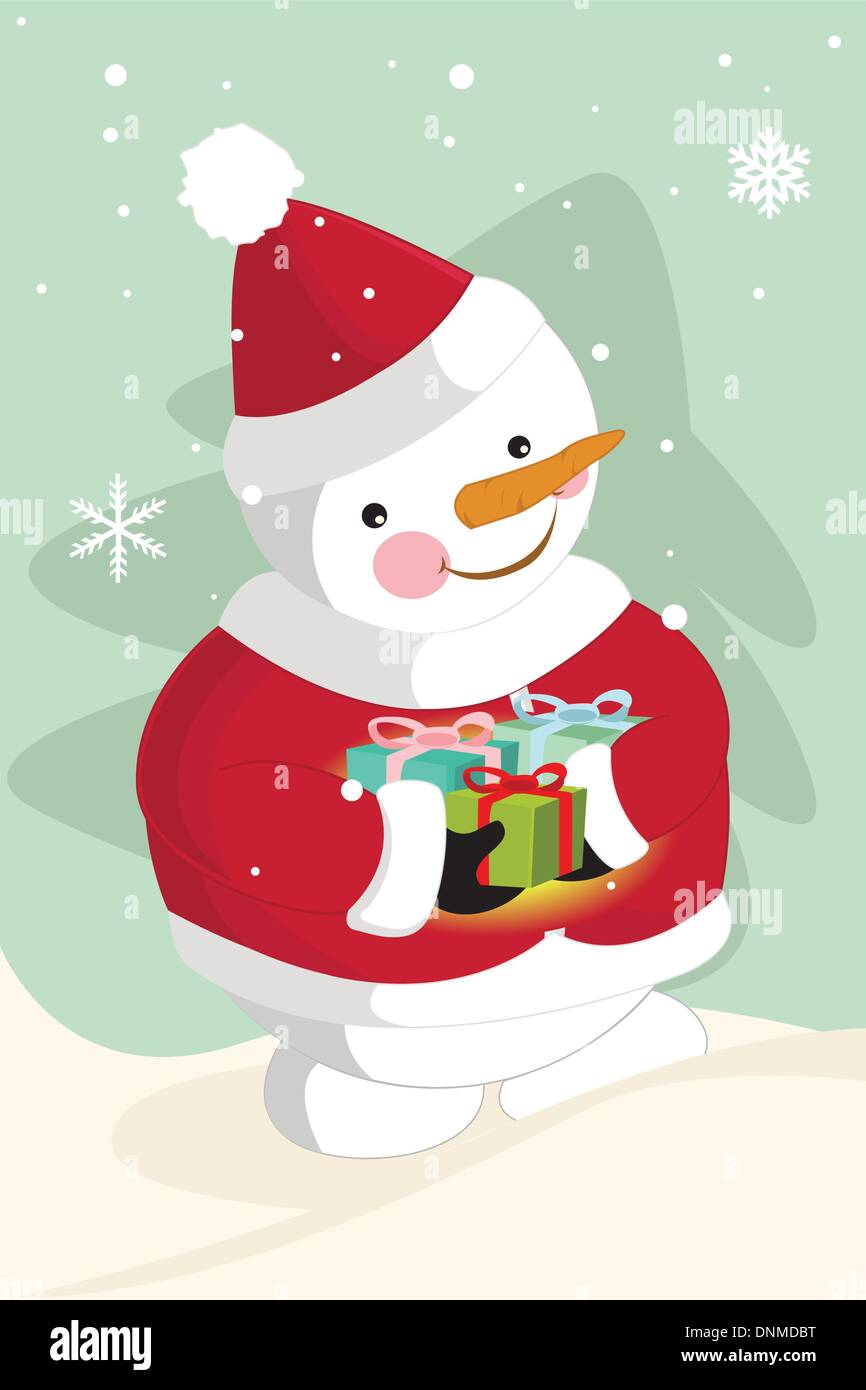 Eine Vektor-Illustration eines Schneemannes Santa Hut tragen ...
