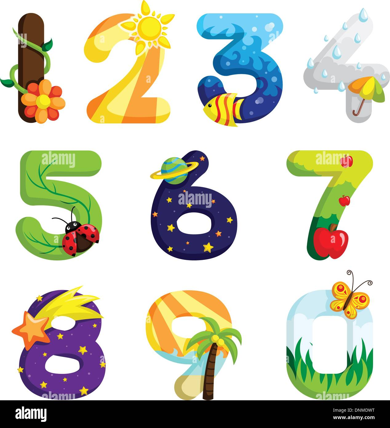 Eine Vektor-Illustration aus einer Reihe von Zahlen in lustigen design Stockbild