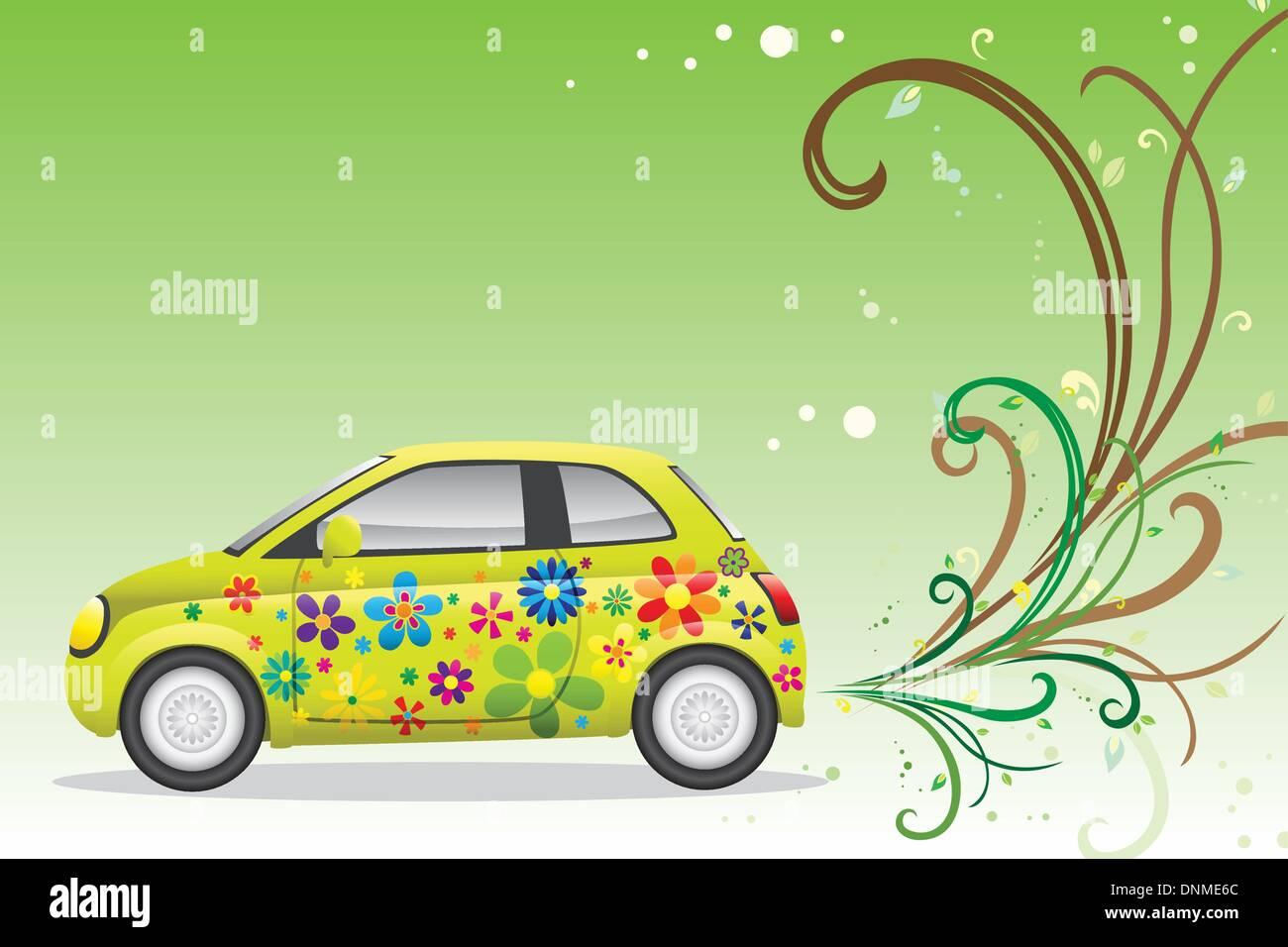 Eine Vektor-Illustration eines grünen Autos für Umwelt-freundlich-Konzept Stockbild
