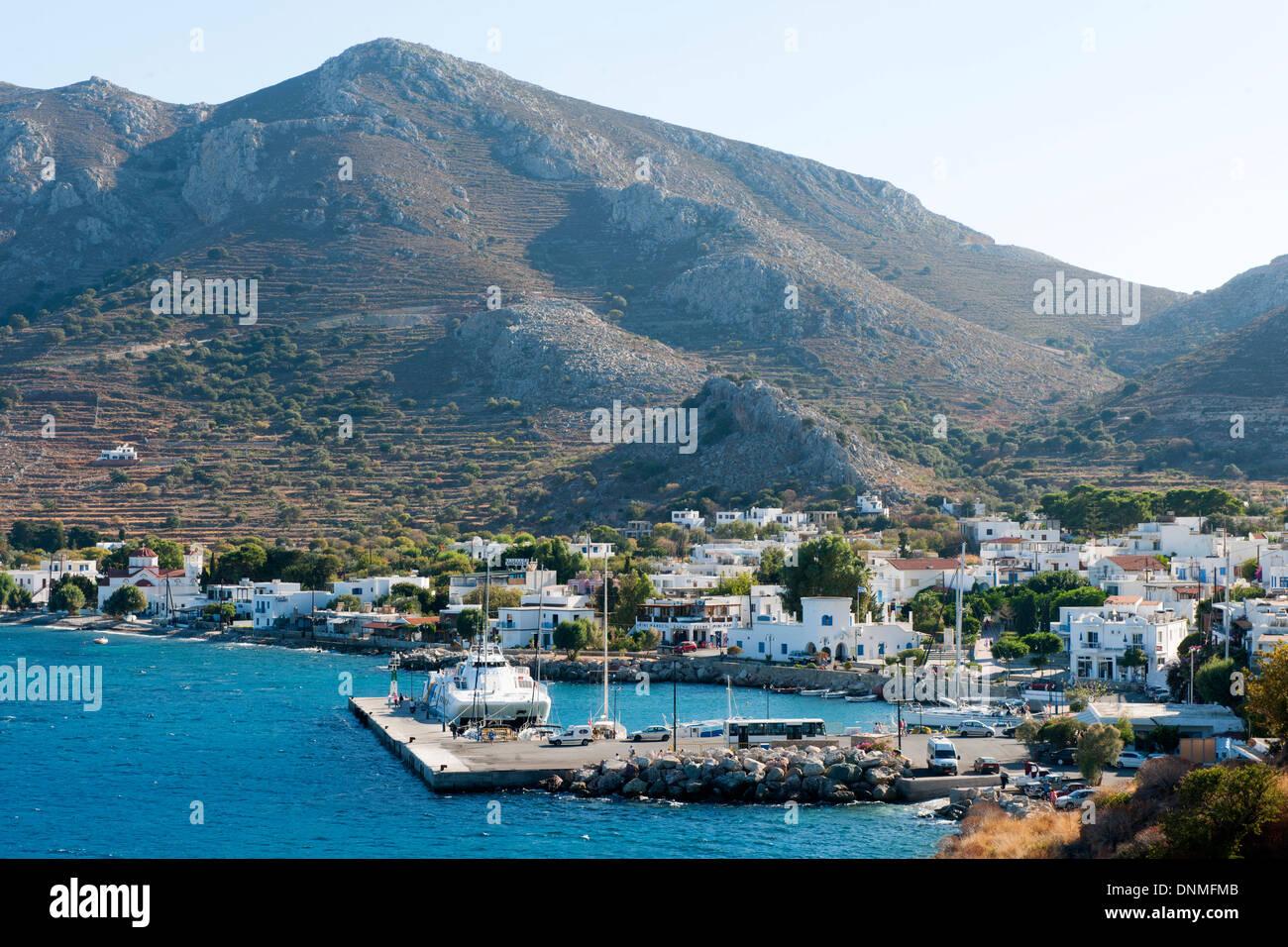 Griechenland, Insel Tilos Hafenort Livadia Stockbild