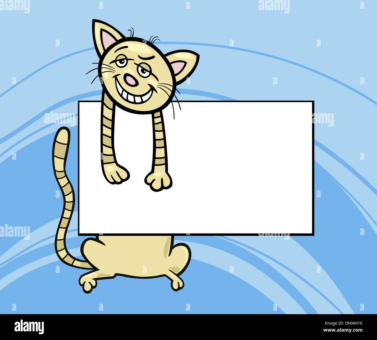 Cartoon Illustration Der Lustige Katze Mit Weißem Karton