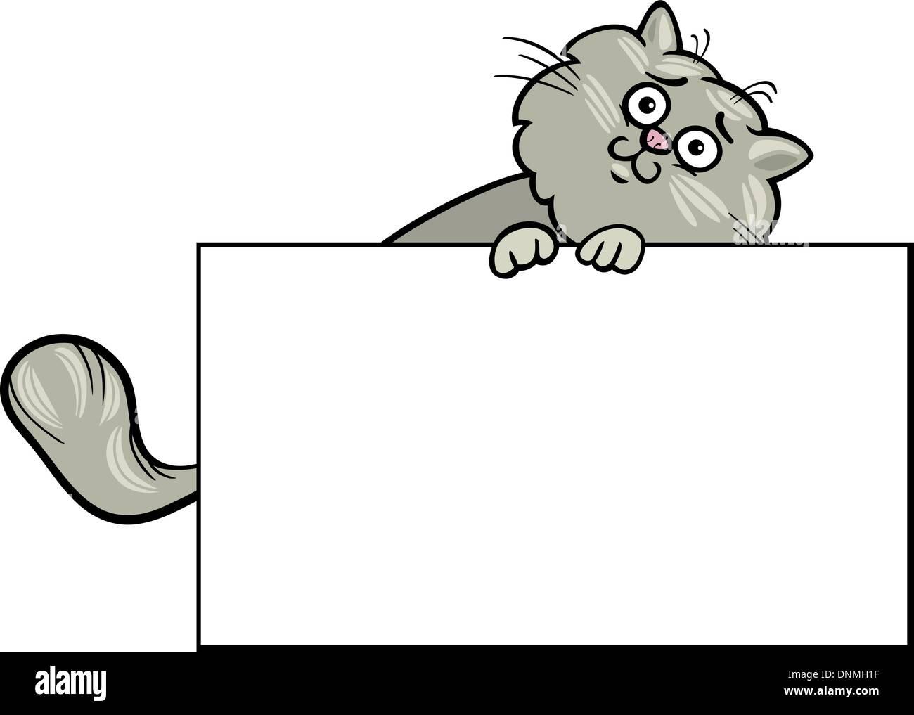Cartoon Illustration Lustig Flauschige Katze Mit Weißem