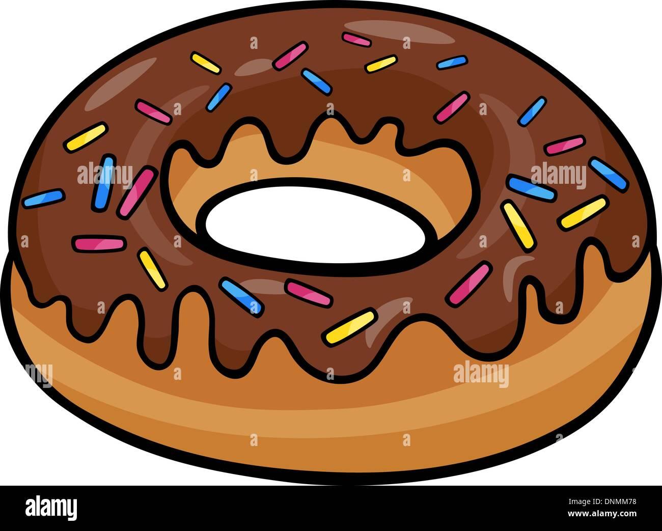 Cartoon Illustration Von Süßen Krapfen Kuchen Mit Schokolade Clipart