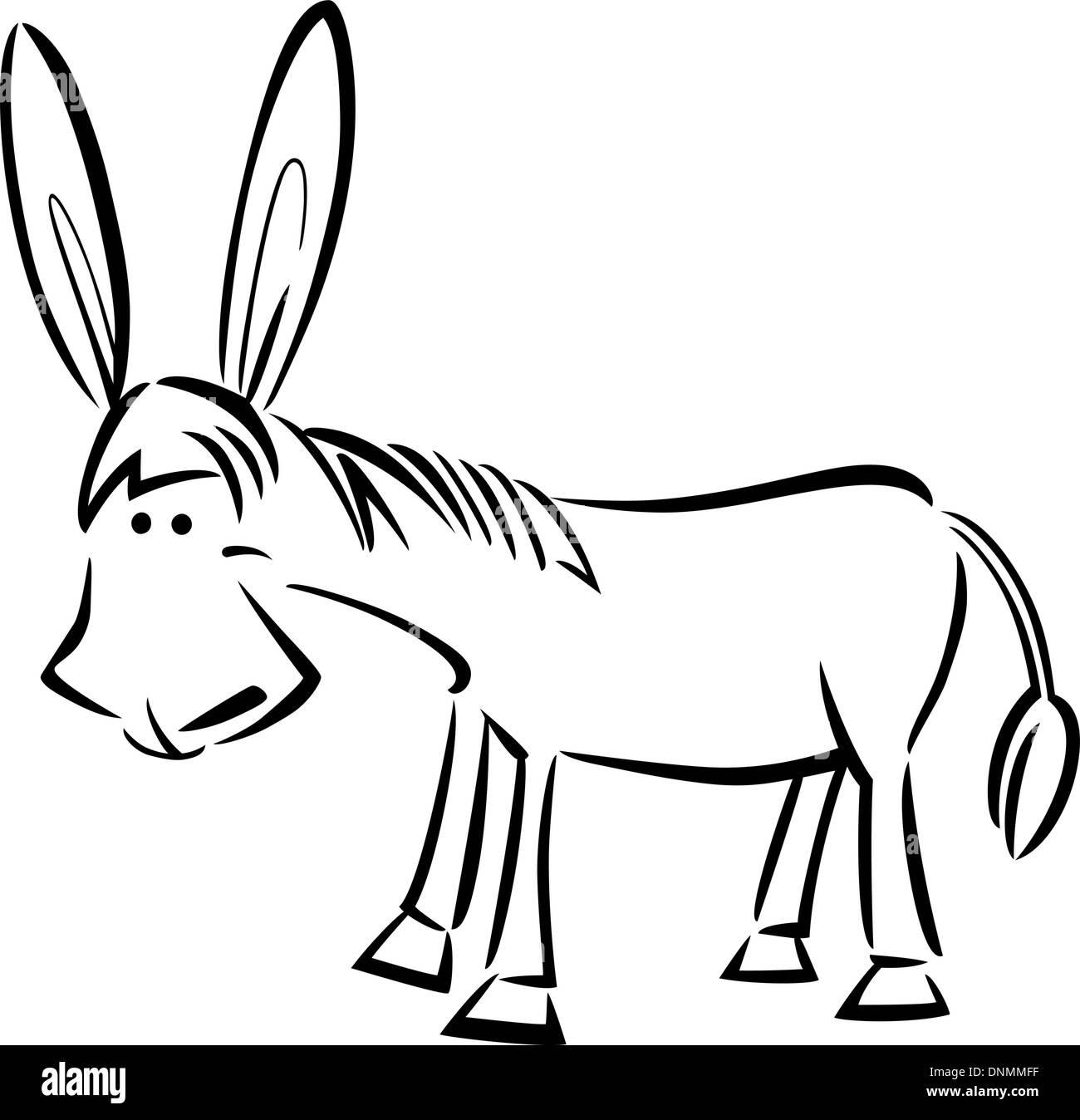 Cartoon-Illustration der süße Esel für Malbuch Vektor Abbildung ...