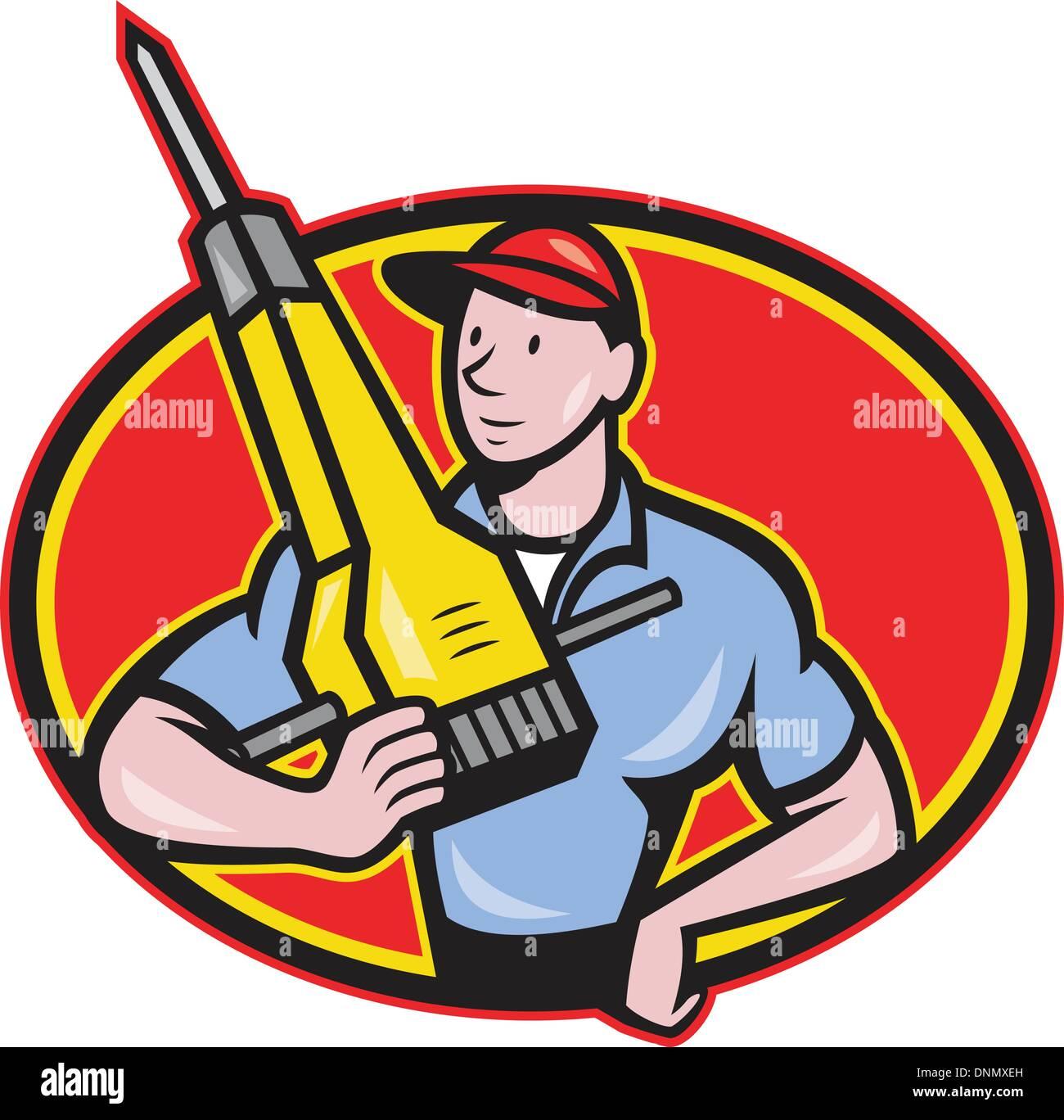 abbildung eines bauarbeiters mit jack pneumatische bohrhammer im
