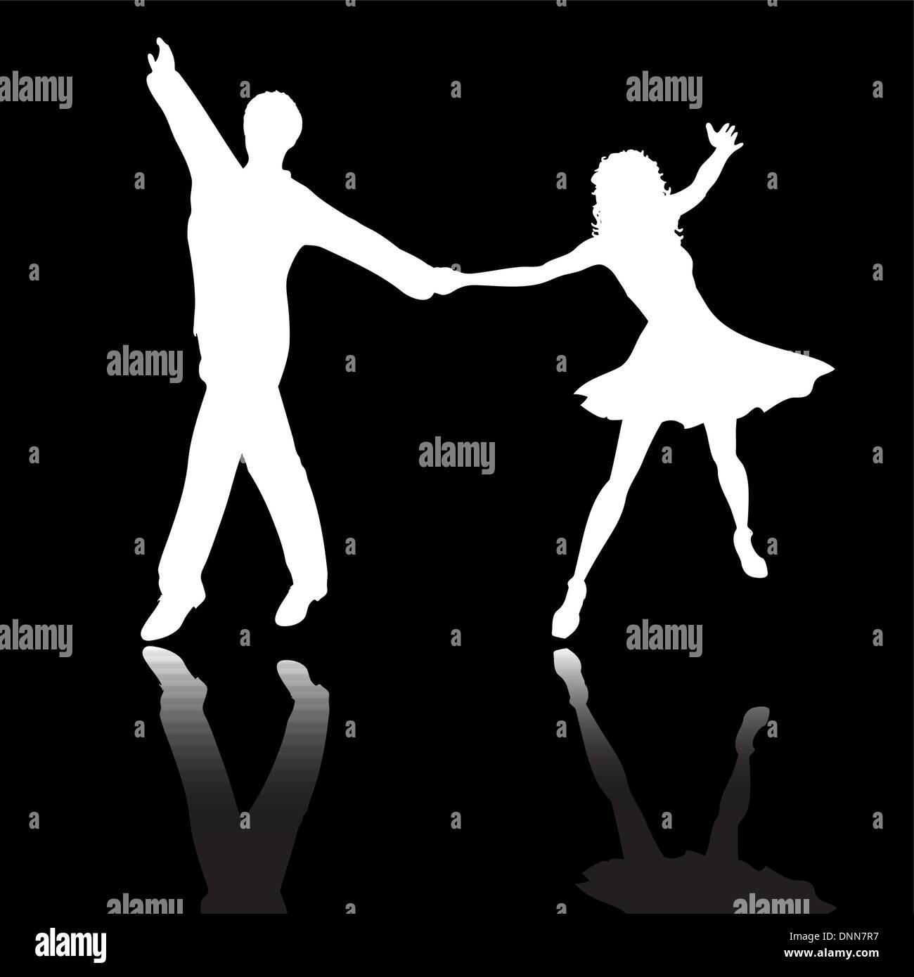 Silhouetten von Menschen tanzen Stockbild