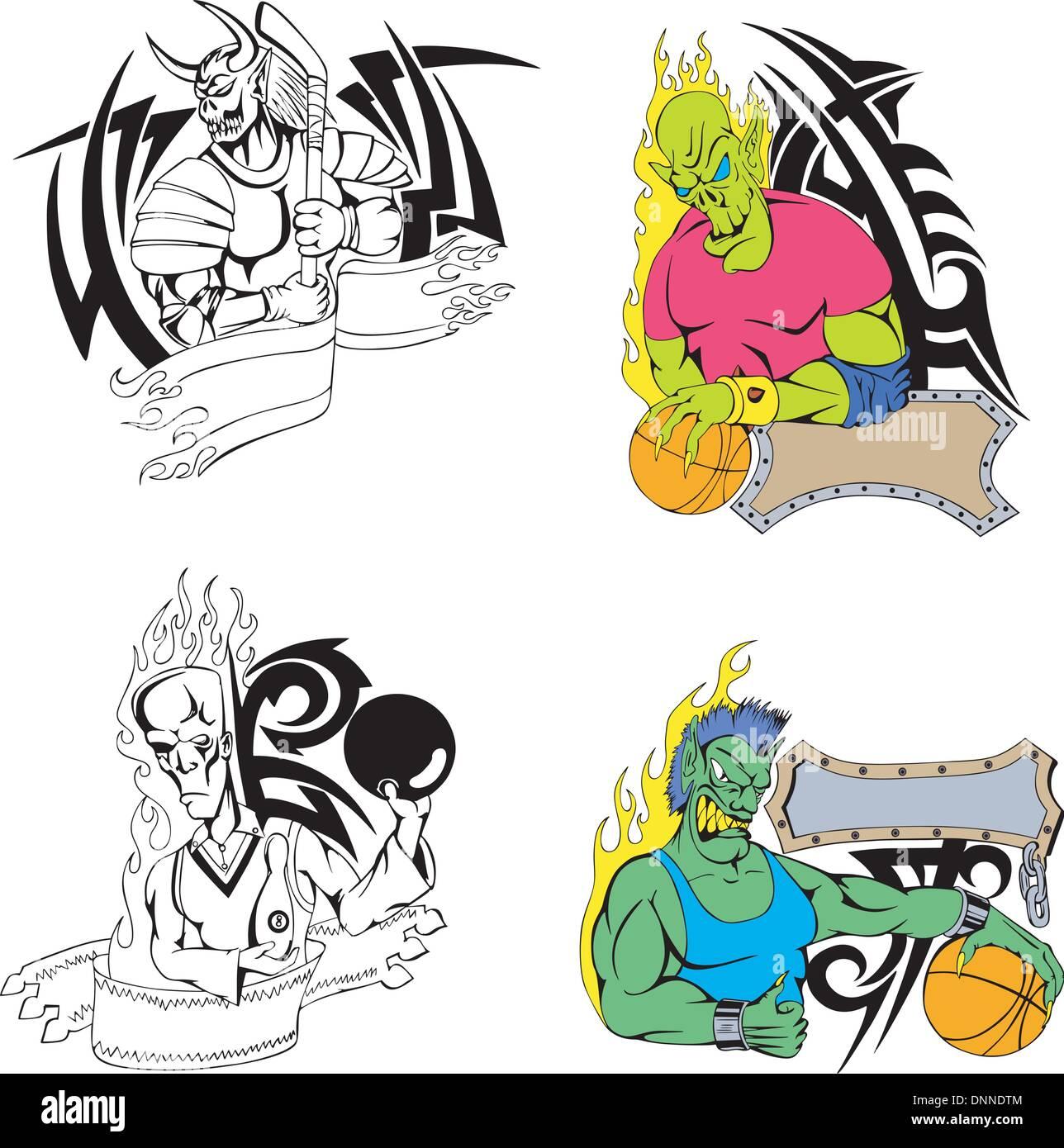 Sport-Monster-Vorlagen. Festlegen von Farbe und schwarz/weiß Vektor ...