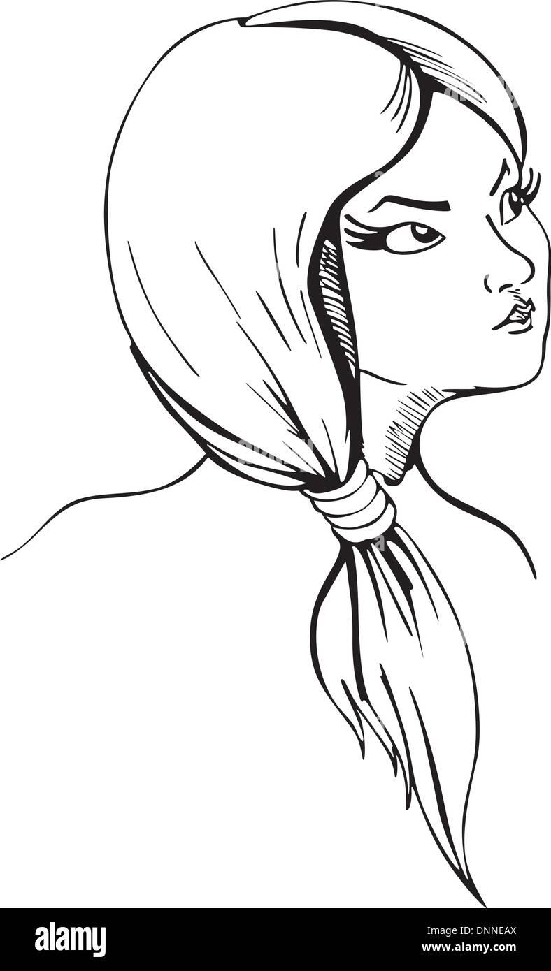 Junge Dame mit kurzen Zopf. Vinyl-Ready-EPS-Illustration, schwarz / weiß-Skizze. Stockbild