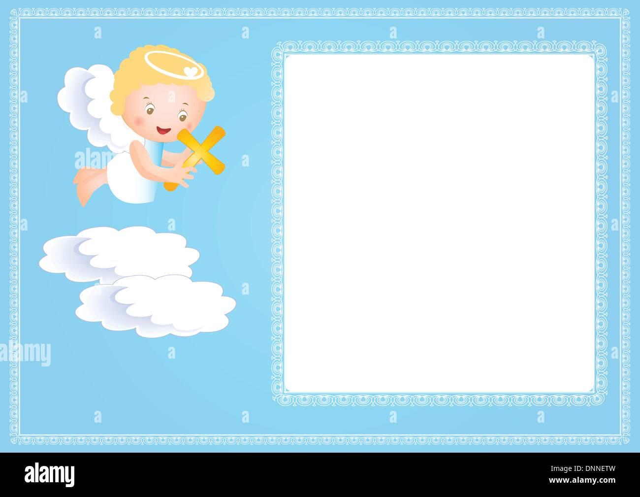 Baby-Taufe-Rahmen mit kleinen Engel Vektor Abbildung - Bild ...