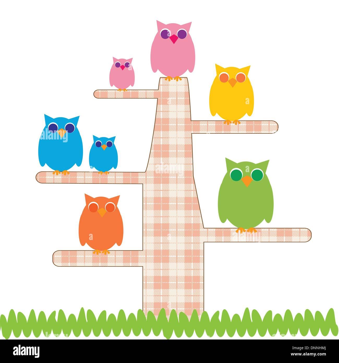 Cute kids Cartoon mit Baum und besitzt Stock Vektor