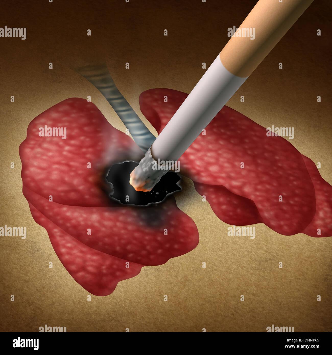 Konzept der Gesundheit Effekte mit einer Zigarette brennt ein Loch ...