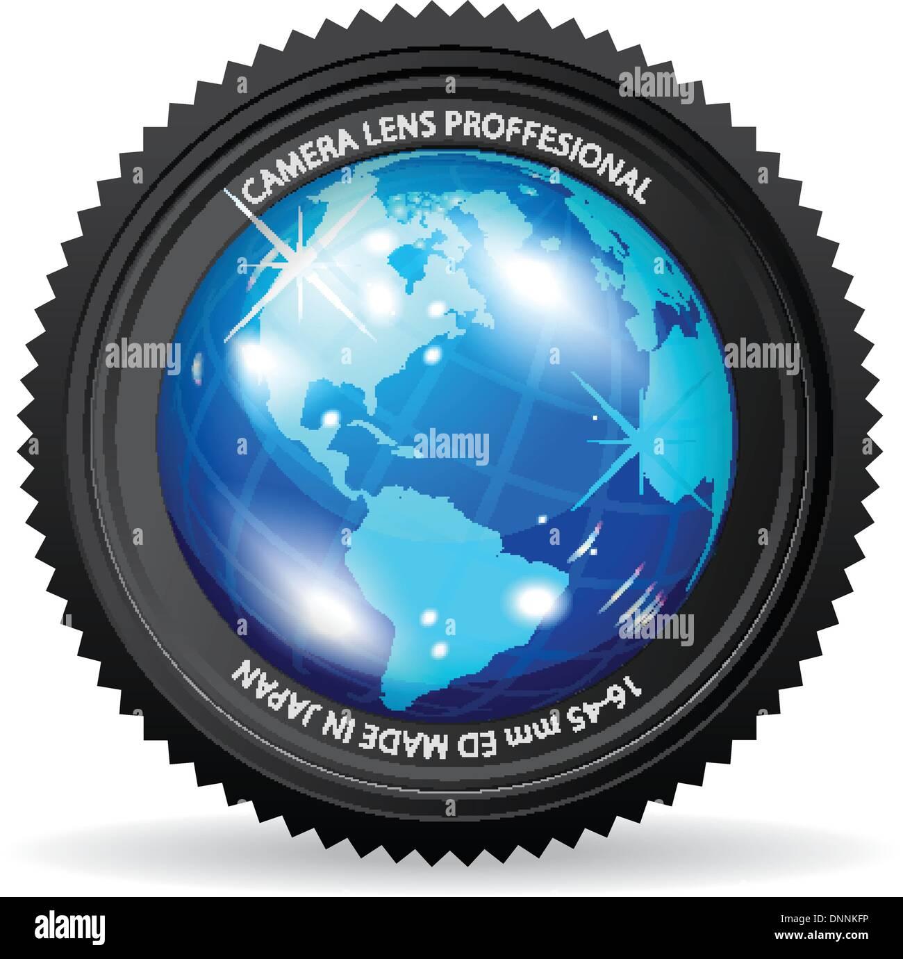 Zoom der Welt! Vektor-Illustration der Kameralinse mit Globus Stockbild