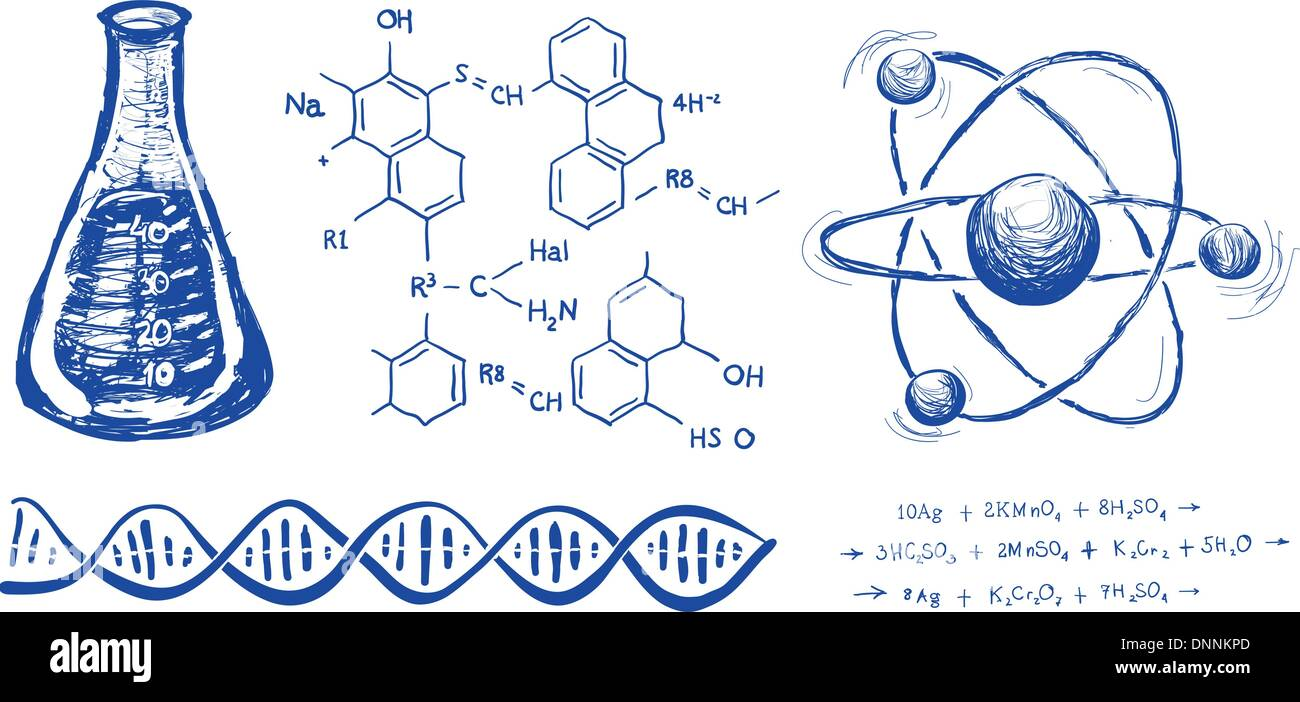 Chemie-Hand-Zeichnung-Vektor festgelegt Abbildung auf weißem Hintergrund Stockbild