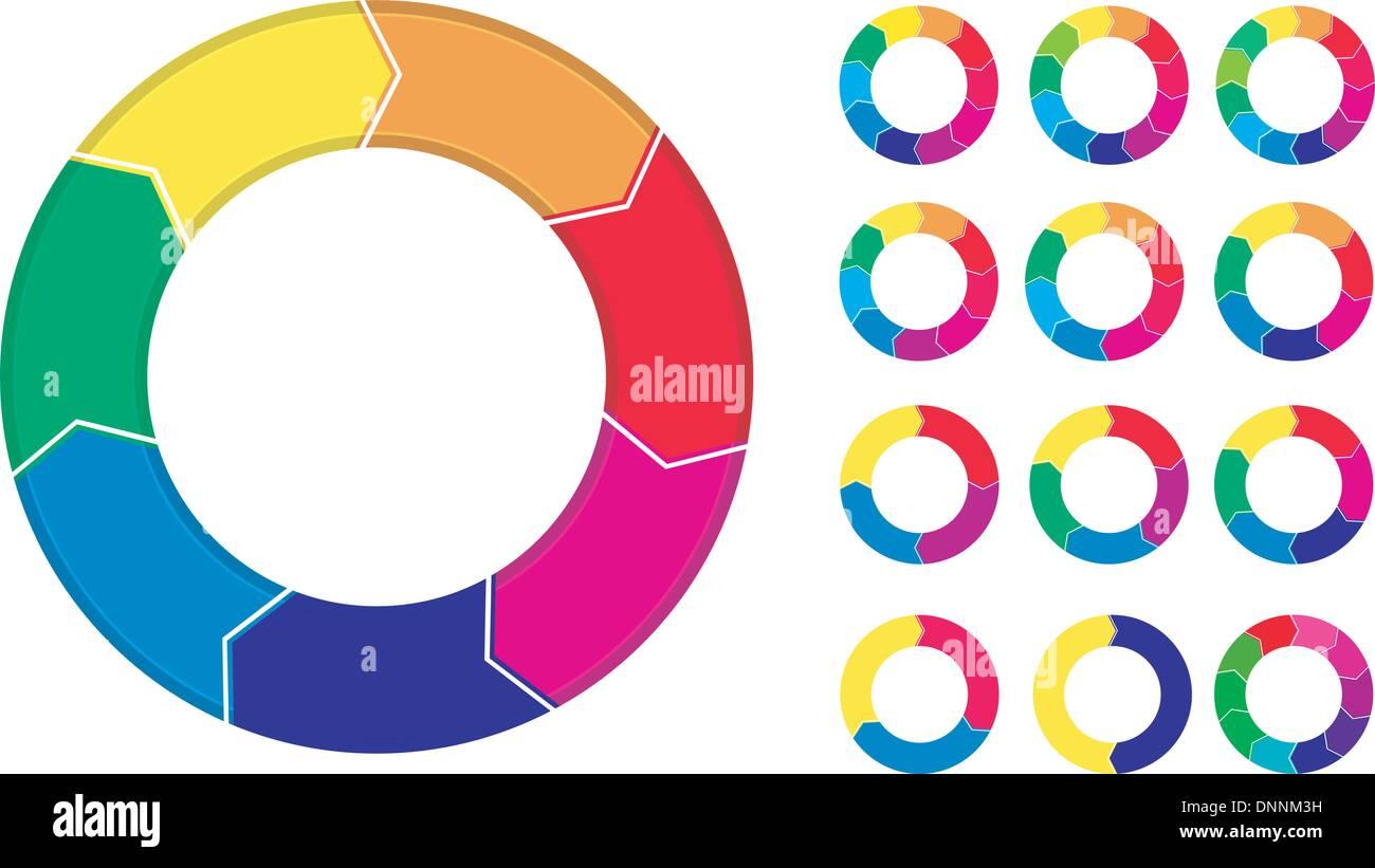 Prozess-Diagramme-Menü isoliert auf weißem Hintergrund Stock Vektor