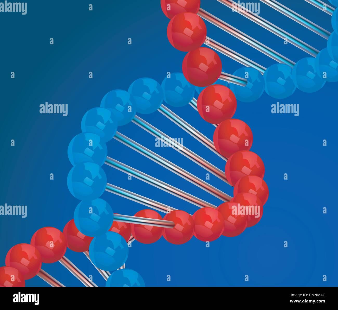 DNA 3d Vektor-Illustration auf blauem Hintergrund Stockbild