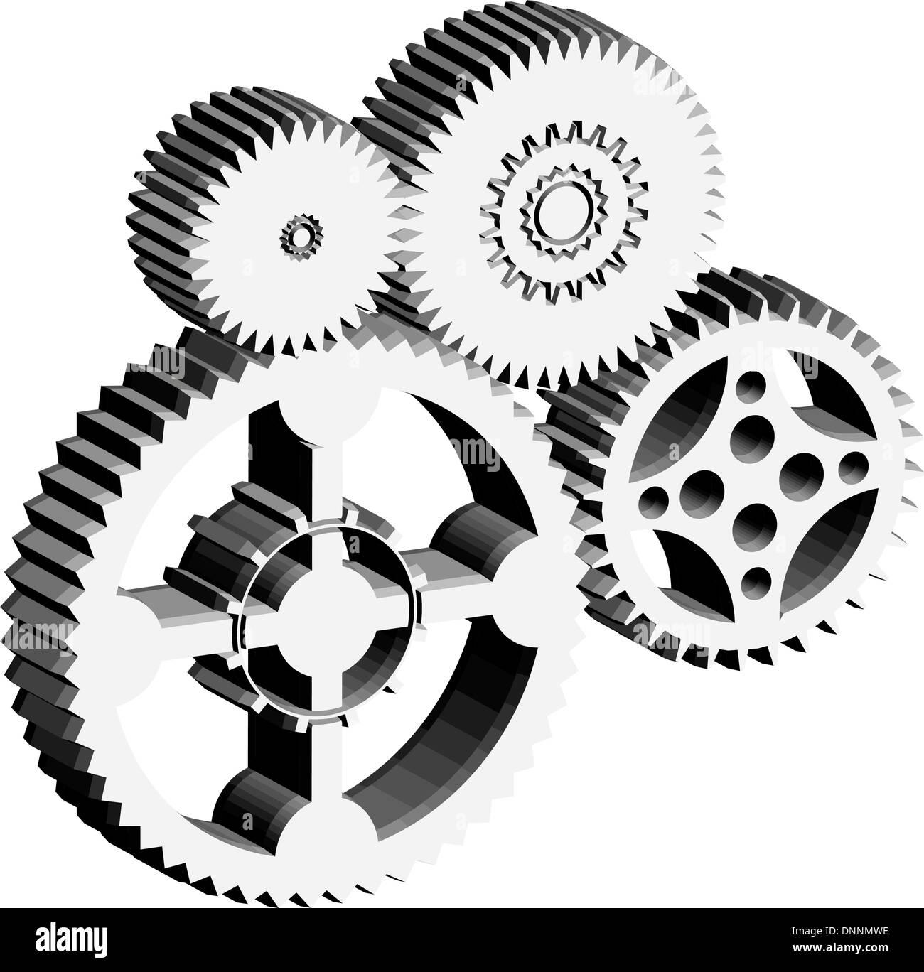 Getriebe und Zahnräder als ein Maschinenkonzept auf weißem Hintergrund Stockbild