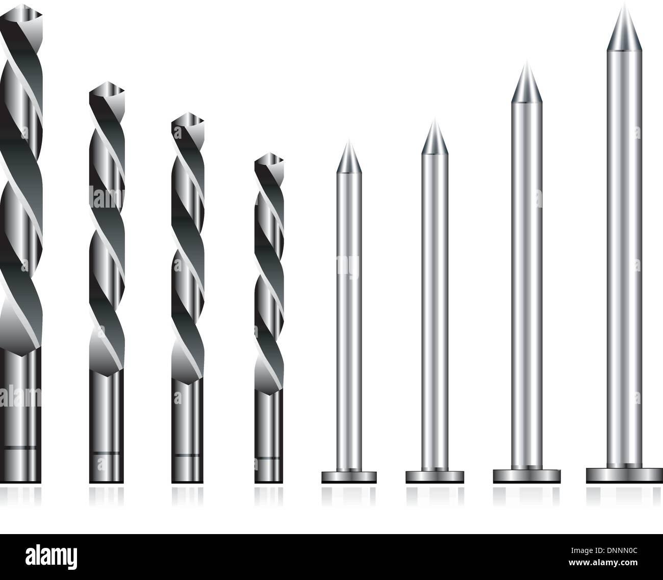 Realistische Bohrer und Stahl Nagel set Stockbild