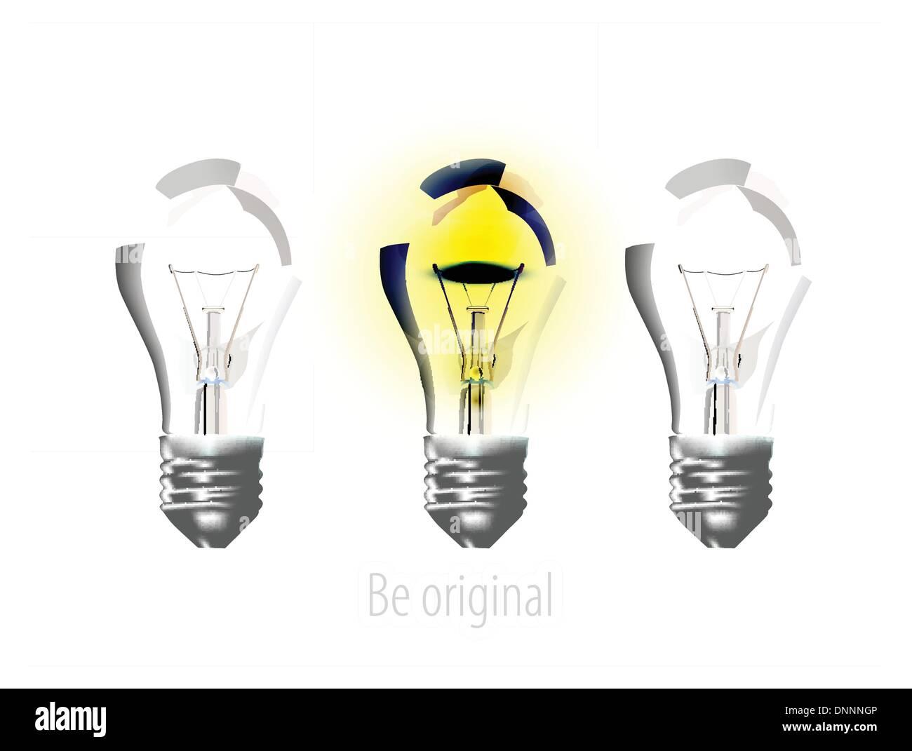 Realistische Lampen auf weiß Stockbild