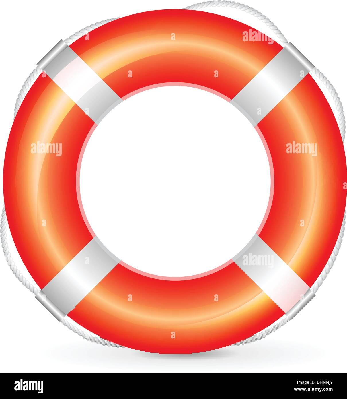 Realistische roten Rettungsring mit Seil auf weißem Hintergrund Stockbild