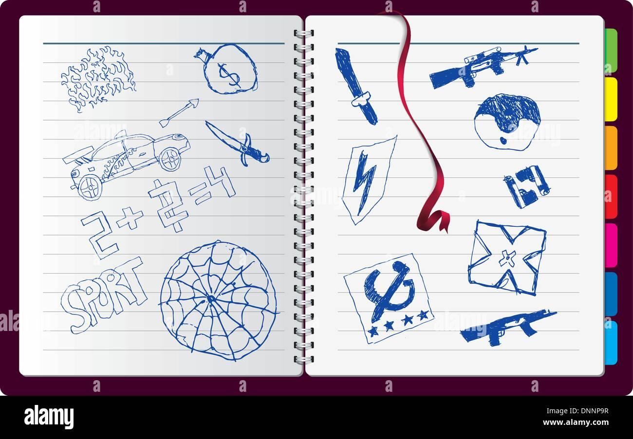 Hinweis mit wirklich Kinder Zeichnung Stockbild